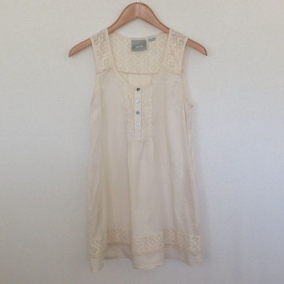 Cream Anthropologie Tunic So delicate and feminine tunic. Side pockets and slightly sheer. Perfect for the summer. Anthropologie (Maeve). NWOT. Anthropologie Tops Tunics