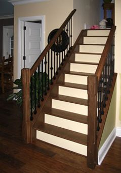 Stairway Railings | The Hardwood Stair Treads Here Are Out Of Maple With A  Dark Walnut .