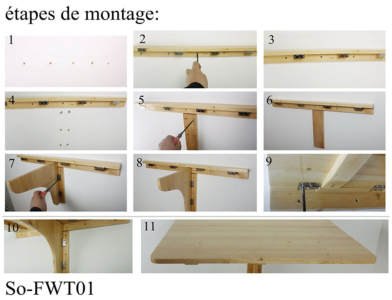 Fabriquer Une Table Escamotable sobuy® fwt05-b table murale rabattable pliable en bois 75