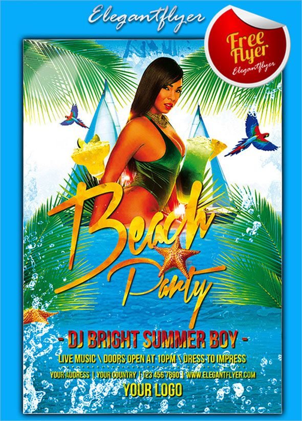 20 Amazing Beach Party Flyer Design Collections Party Flyer