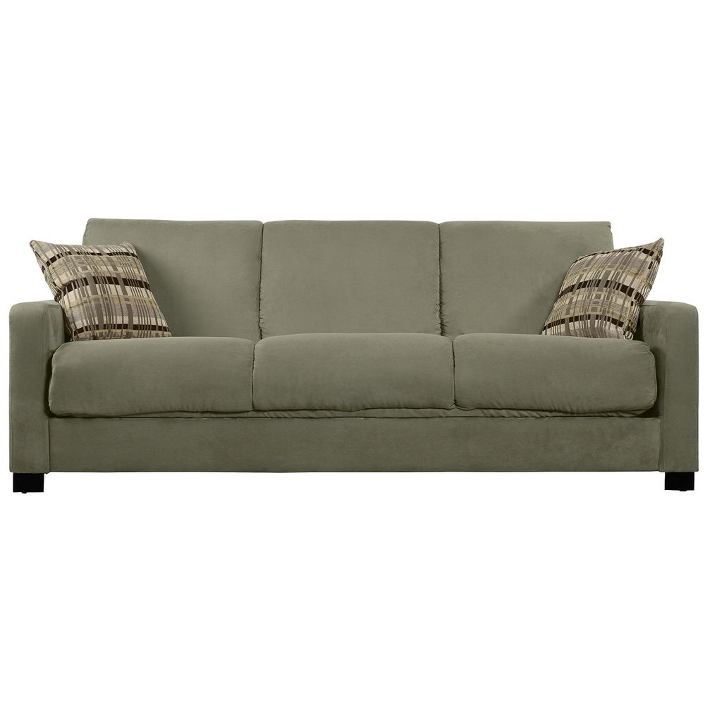 Peachy Portfolio Trace Convert A Couch Sage Grey Microfiber Futon Pabps2019 Chair Design Images Pabps2019Com