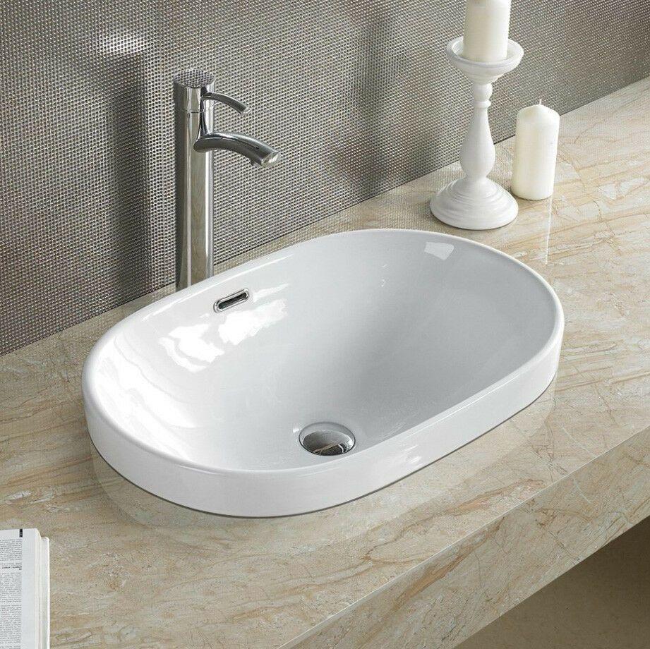 Elimaxs 5006c Bathroom Semi Recessed Ceramic Porcelain Vessel Sink Drain Bathroom Sinks Ideas Of Bathroom Sinks Drop In Bathroom Sinks Sink Vessel Sink
