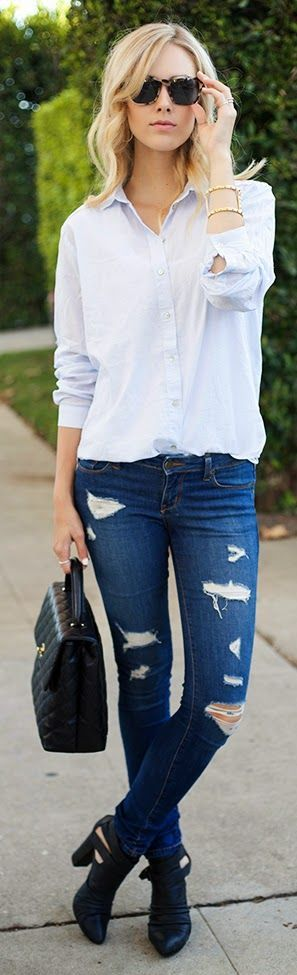 20 Style Tips On How To Wear Distressed Denim