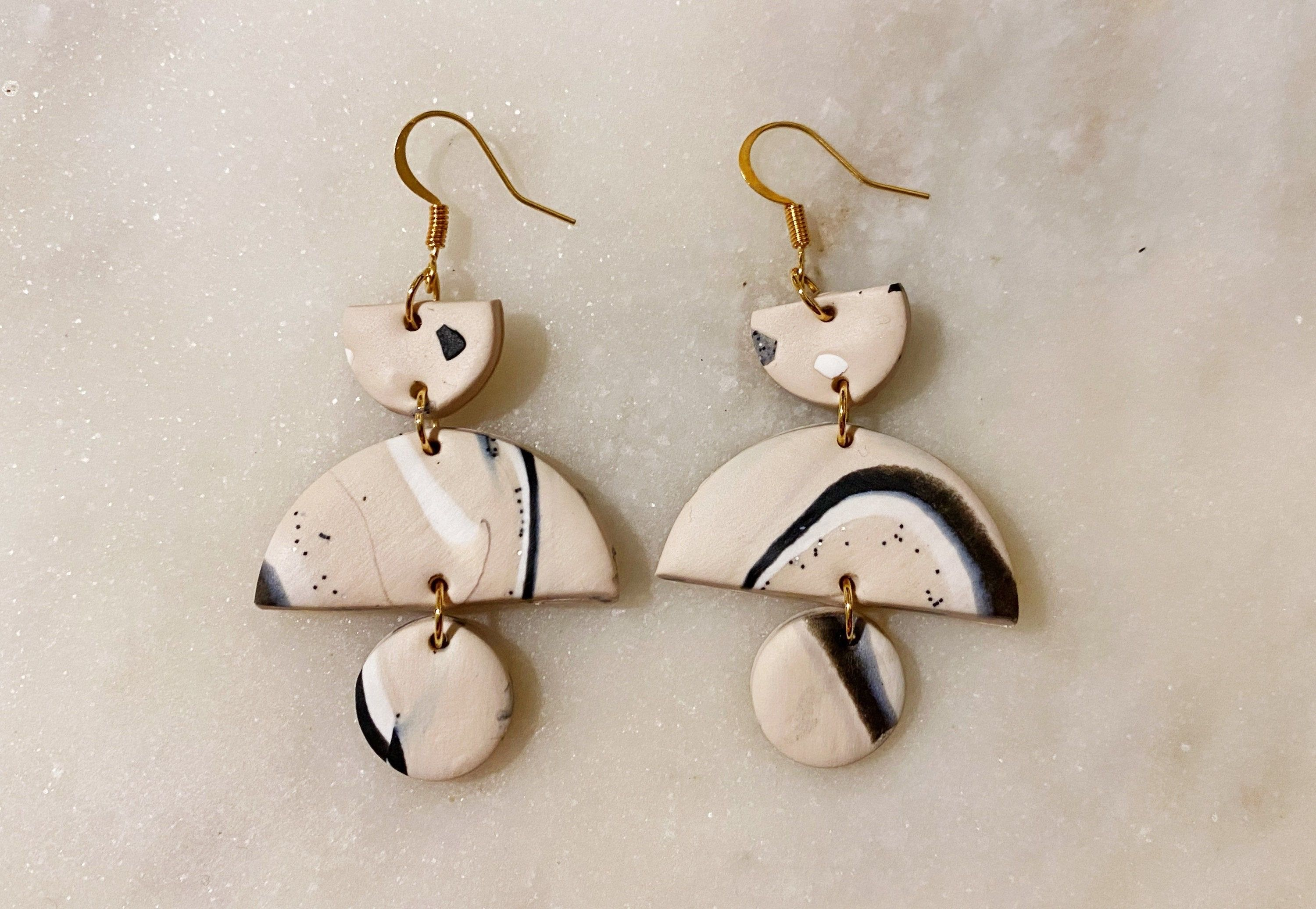 and Gray Scalloped Drop Earrings Black Polymer Clay Statement Earrings White