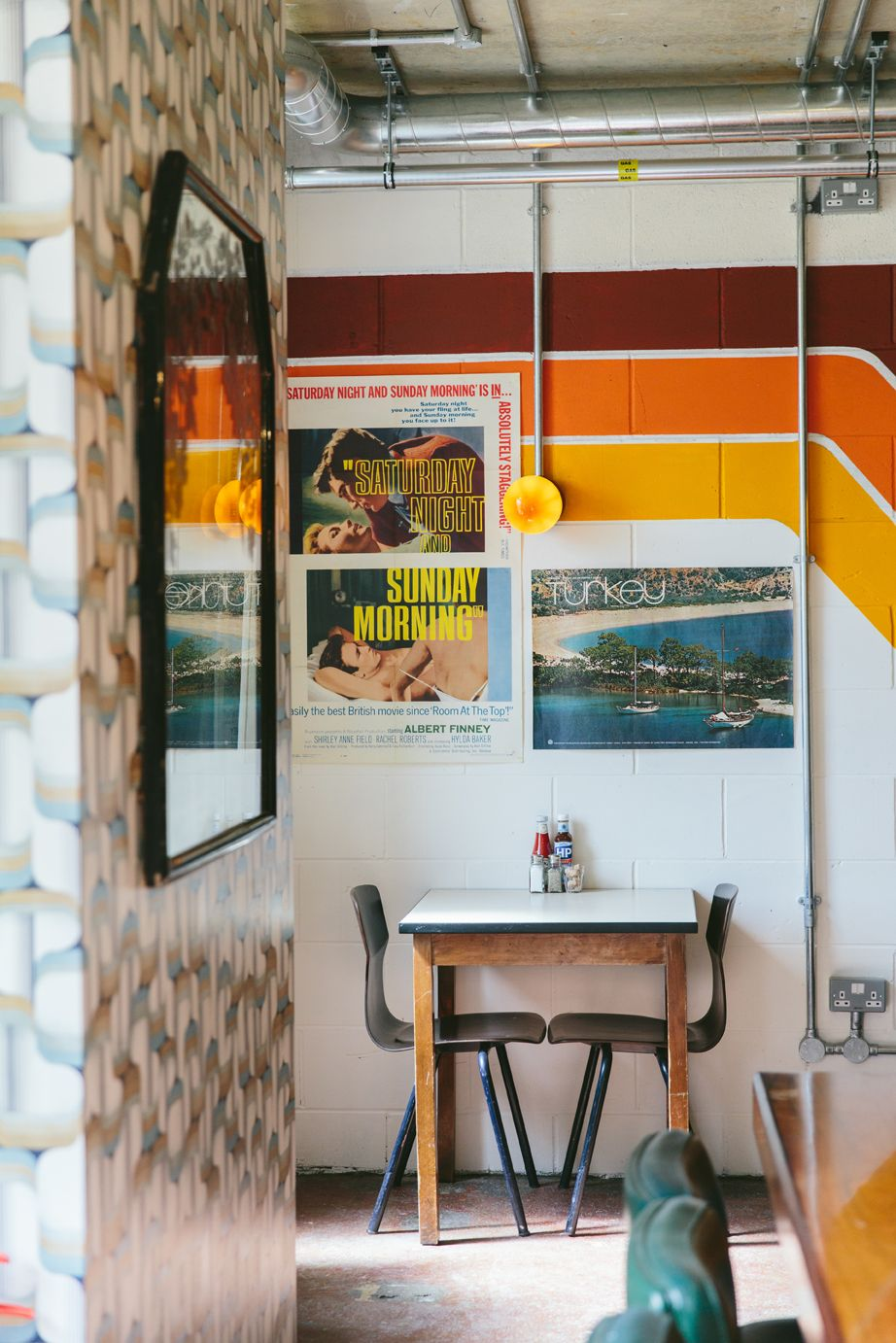 the breakfast club hackney wick by finch interiors london restaurant casual dining 70s - Breakfast House Restaurant Wall Designs