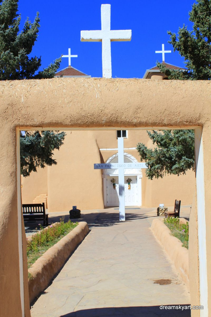 bluest of blue skies over entrance to San Francisco de Asis, Rancho de Taos, NM