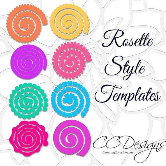 Paper Flower Rolled Rosette Templates Printable Pdf Rosettes Instant Set Of 8