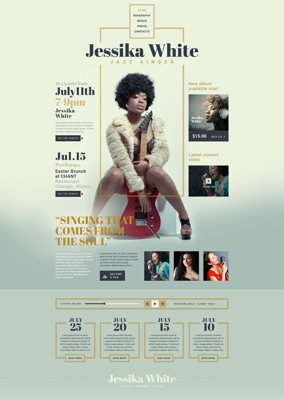 Singer Responsive Website Template #art #actor http://www ...