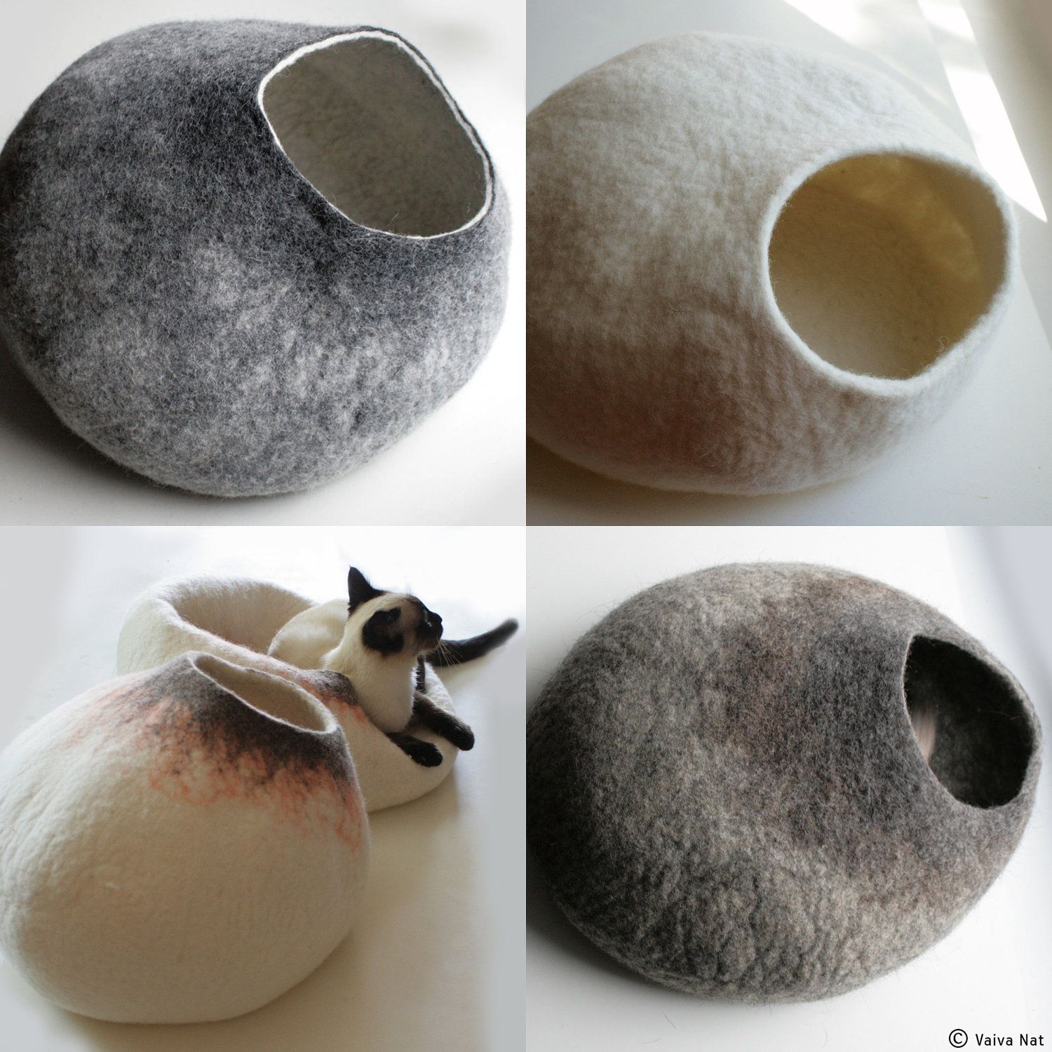 custom felted cat bed  hand felted wool cat bed  vessel  crisp  - ask for custom felted cat bed  hand felted wool cat bed  vessel  crispcontemporary design