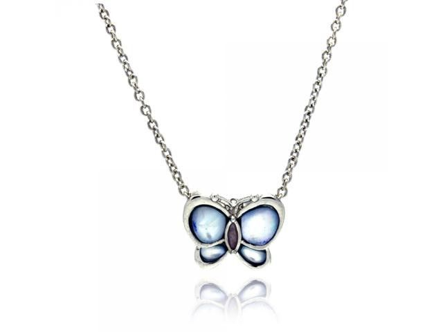 Fine Jewelry Womens Mother Of Pearl Sterling Silver Butterfly Pendant Necklace featuring Swarovski Marcasite 5SK7ZLxfq
