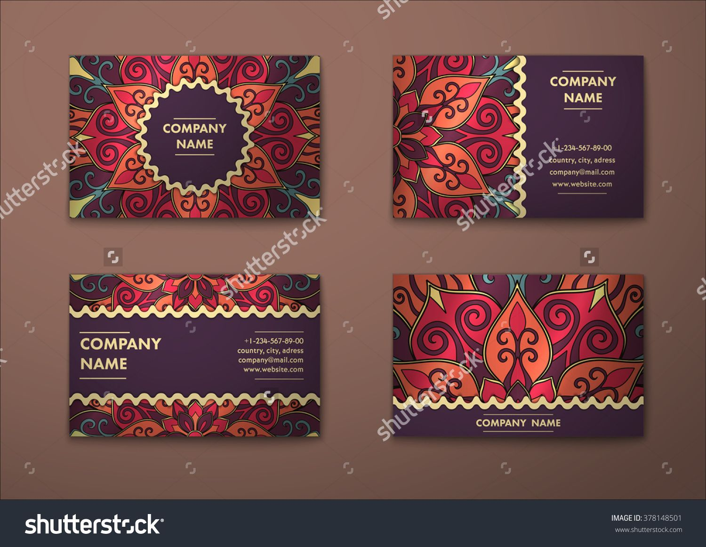 Vector Vintage Visiting Card Set. Floral Mandala Pattern And Ornaments. Oriental  Design Layout.