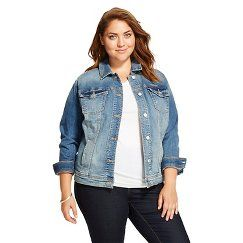 Women's Plus Size Denim Jacket Medium Blue  - Ava & Viv - Medium Blue