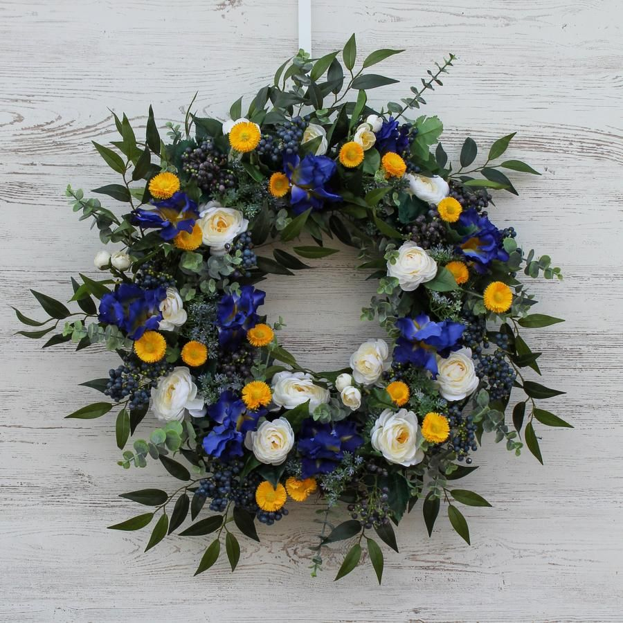 Photo of Blue Iris, Cream Camellia & Yellow Daisy Front Door Spring Summer Wreath – 30
