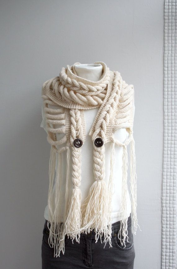 Cream Wool Scarf with Brown Button Valentine\'s day gift For Mom For ...