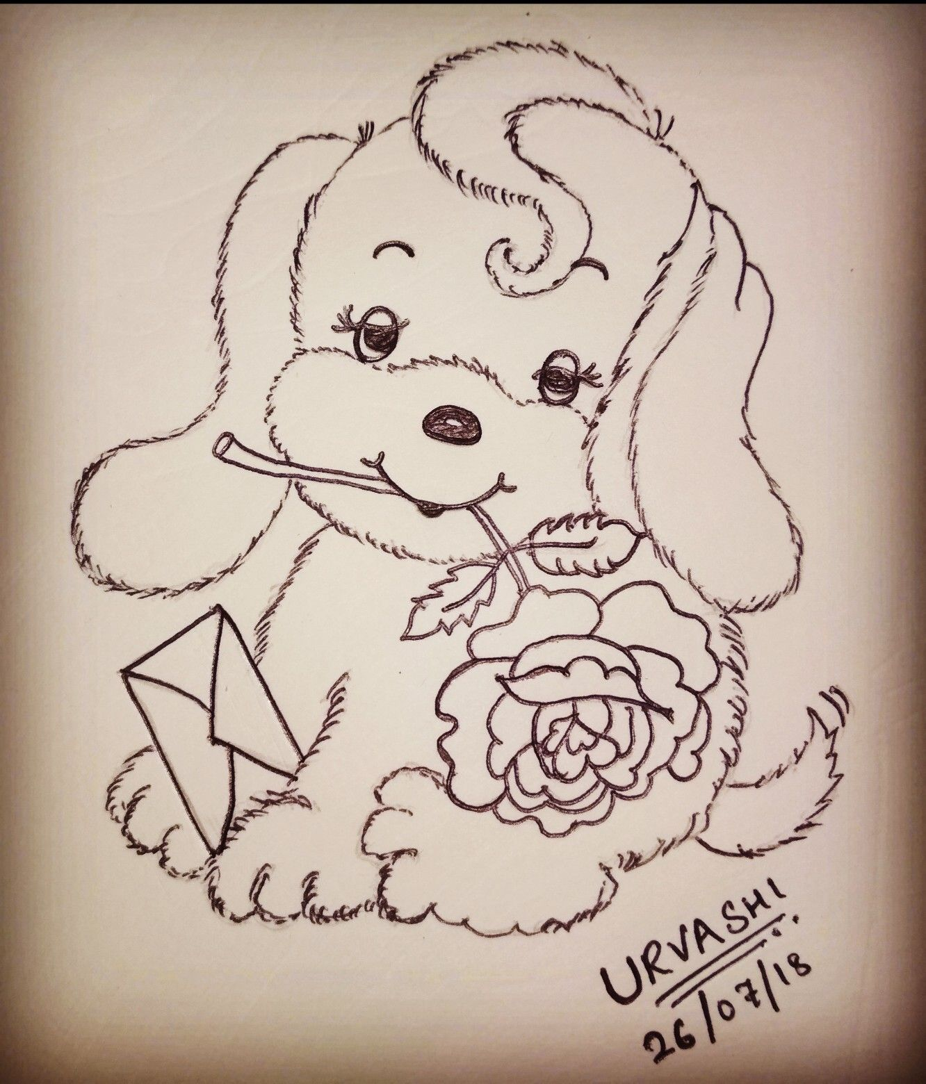 Cute Puppy With Letter And Flower Pencil Drawings Sketches
