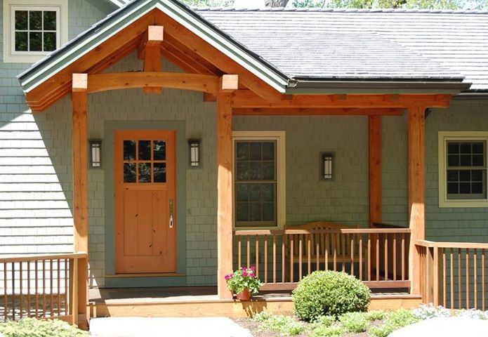Lake Cottage Entry Porch With A Reclaimed Douglas Fir Door