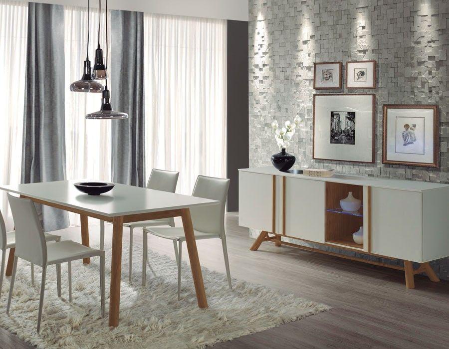 Salle à manger scandinave blanc laqué et pin OTRA | Meubles de style ...