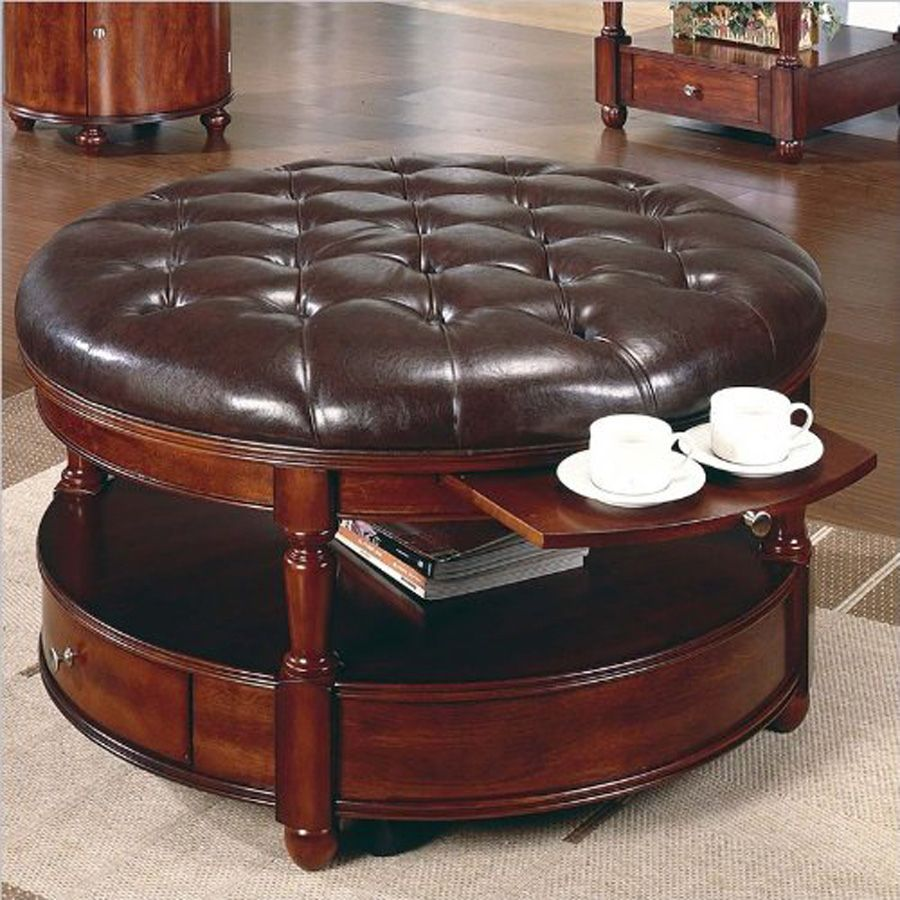 Round Leather Ottoman Coffee Table - Living Room Table Set Check ...