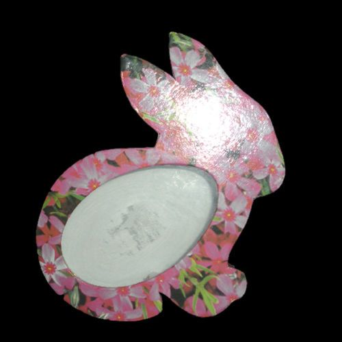 Spring Floral Easter Bunny Rabbit Storage Gift Box, Paper Mach