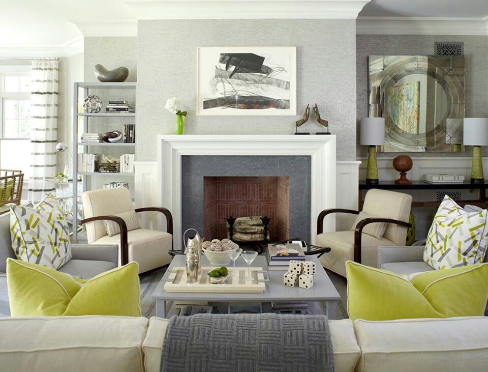 Gray And Green Contemporary Decor Living Room Grey