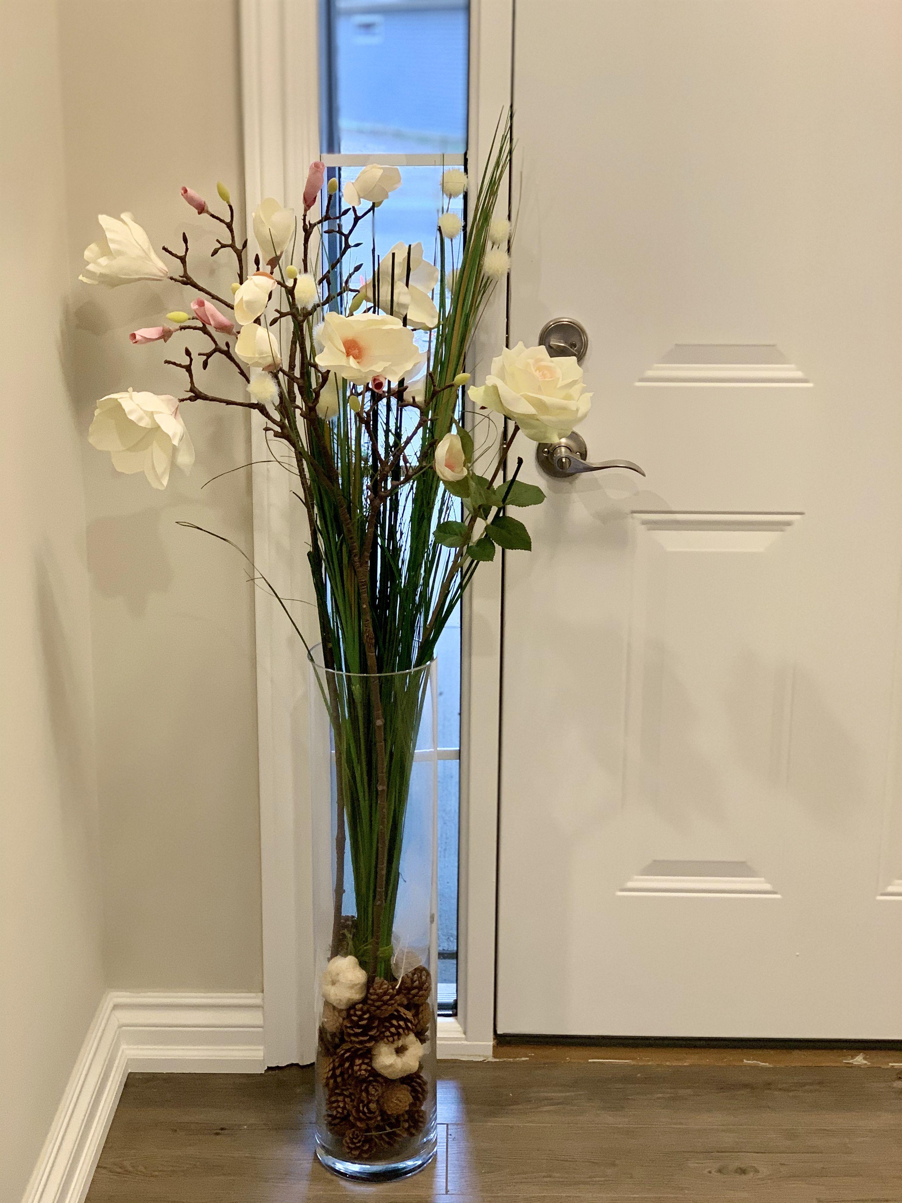 Livingroomdecor Tall Vase With Large Stem Flowers Creativedecor For Hallway Tall Vase Decor Floor Vase Decor Glass Vase Decor