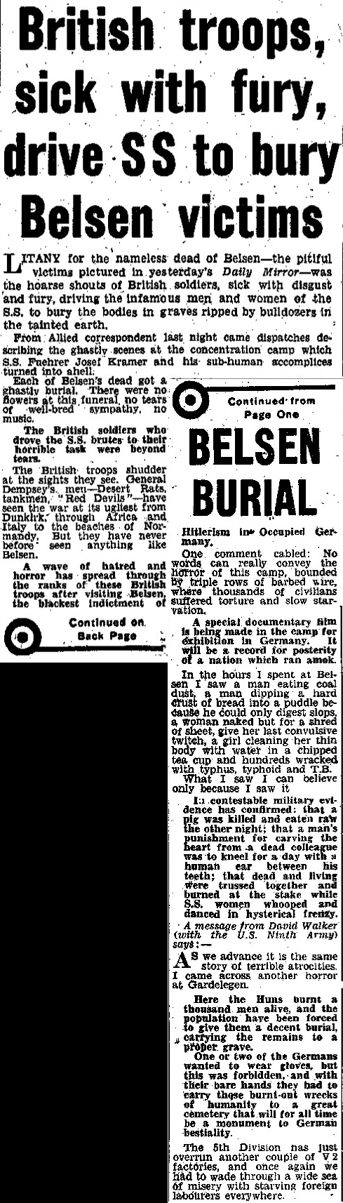 Daily Mirror Newspaper Report Dated  April    World War