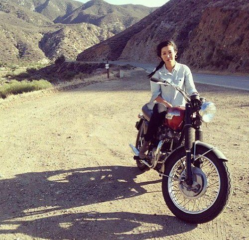 Jeannette Mekdara, California, with her Triumph at golden hour. (via Moto Lady)