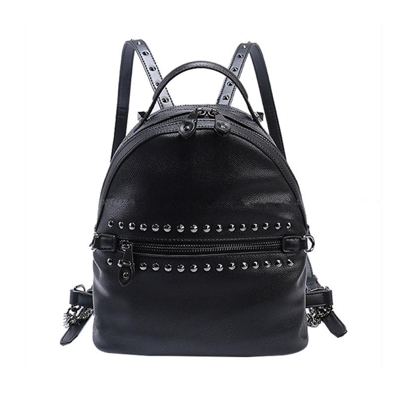 39.89$  Buy here - http://alidgv.shopchina.info/go.php?t=32791067442 - Women Backpack Black 2017 New Design Pu Leather Rivet Backpack Ladies Women's Travel Bags Fashion Sac A Dos Female Brand Backbag  #magazine