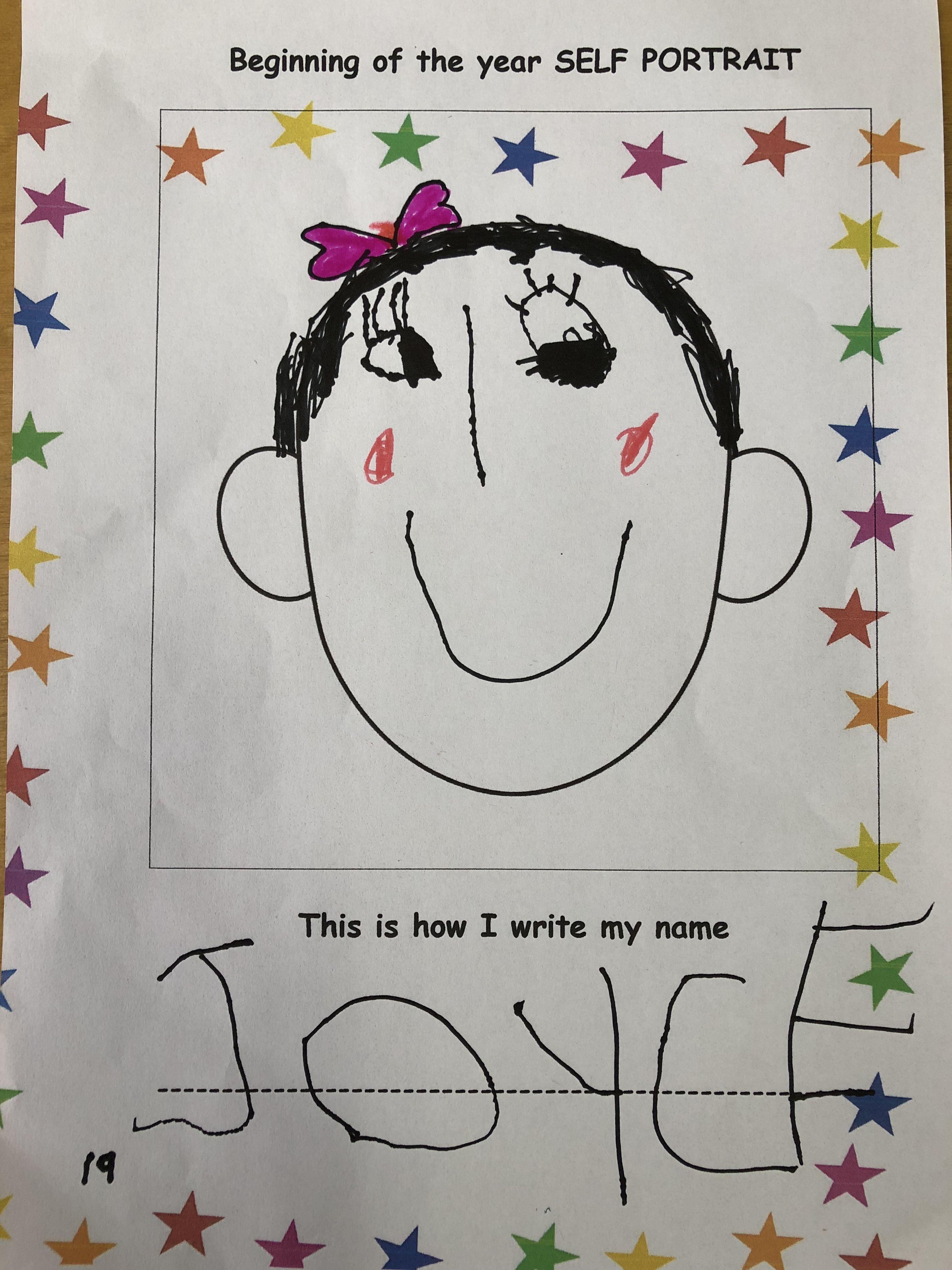 Beginning Of The Year Self Portrait Kindergarten