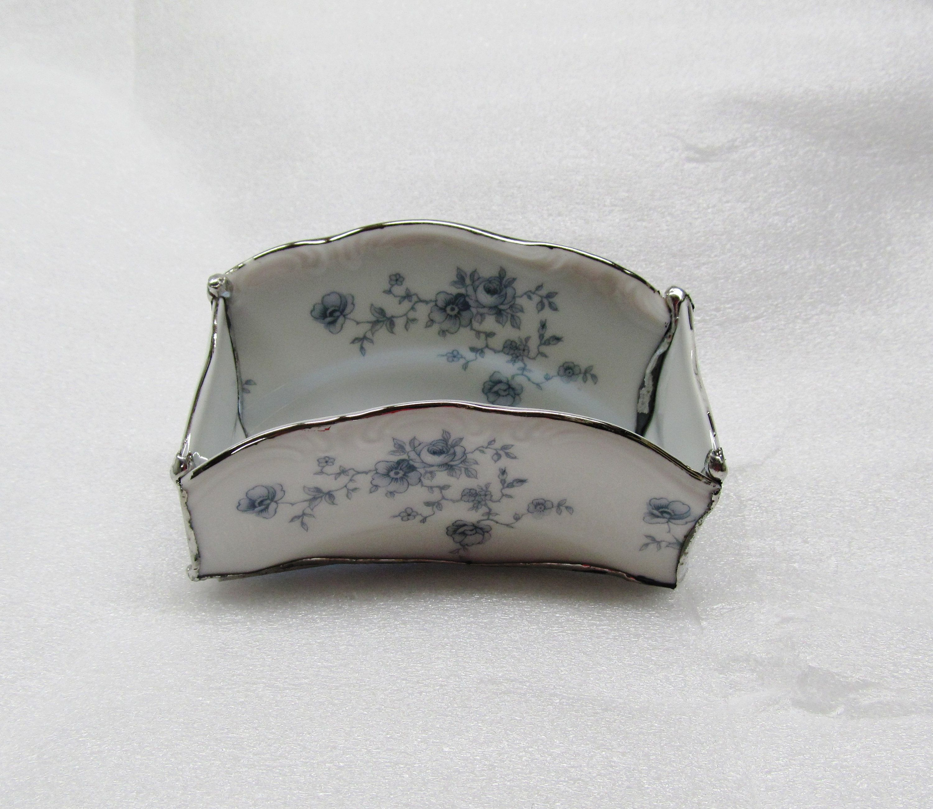 Feminine Business Card Holder Blue Fl Broken China Executive Desk Accessory