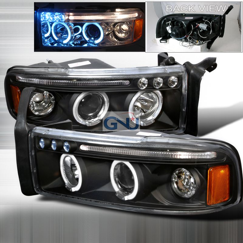 Dodge Ram 1994 2001 Black Halo Projector Headlights W Led S Dodge Ram Dodge Ram Accessories Projector Headlights