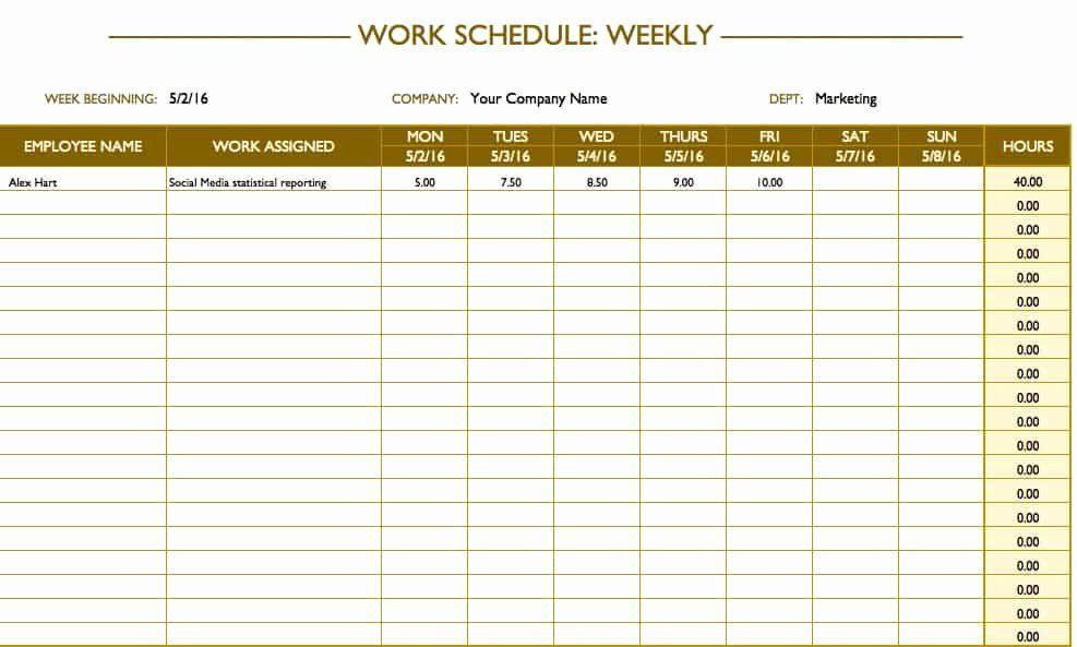 Restaurant Employee Schedule Template Fresh Free Work Schedule Templates For Word And Excel Smartsheet Schedule Templates Schedule Template Work Schedule