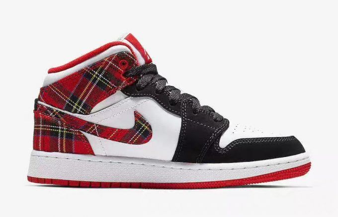 "caa0602a8b15 Girls Air Jordan 1 Mid GS ""White Plaid"" Shoes 554725-607 in 2019 ..."