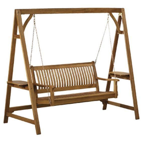 Wooden Patio Swing Chair Design For Comfortable Outdoor Seating