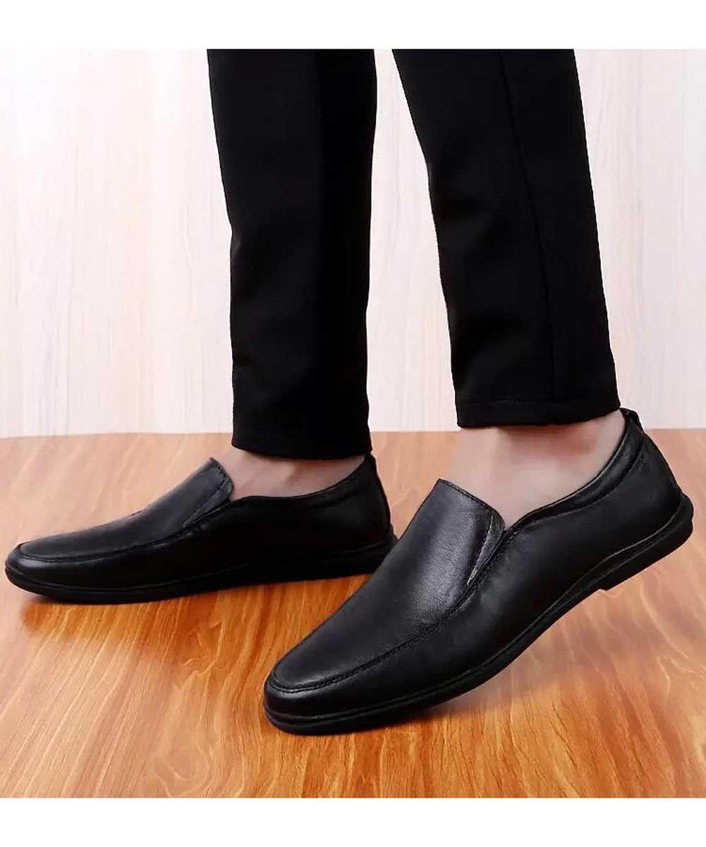 Black Plain Leather Slip On Shoe Loafer Curved Toe Leather Slip On Shoes Slip On Shoes Mens Slip On Loafers