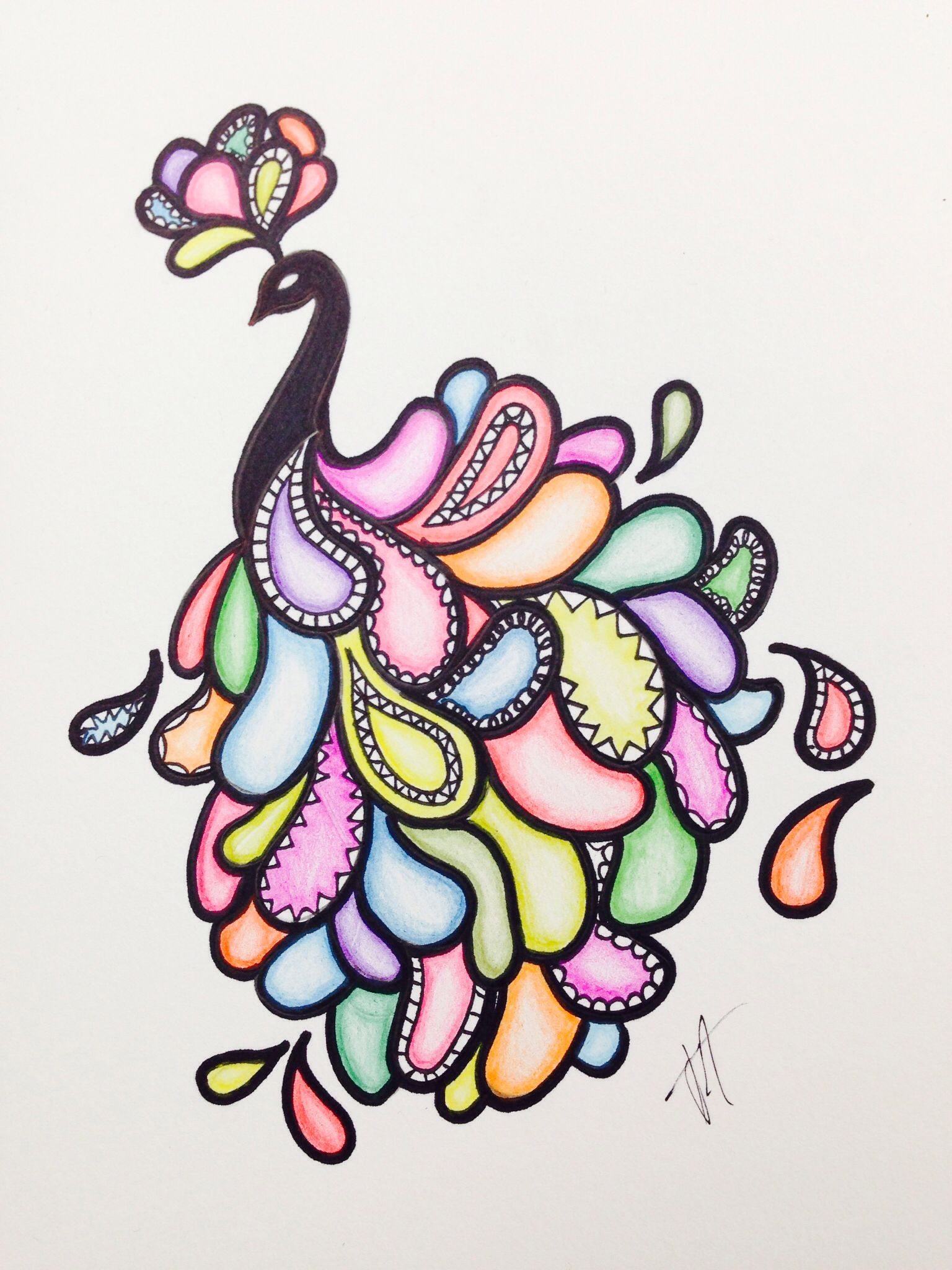 Easy Peacock Drawing With Sharpie And Colored Pencils My Art