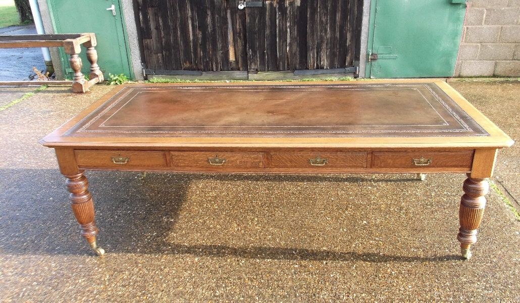 ANTIQUE FURNITURE WAREHOUSE - Large Antique Victorian Oak Desk - 8ft Late  19th Century Oak Library Partners Writing Desk or Boardroom Table - Large Antique Victorian Oak Desk - 8ft Late 19th Century Oak Library