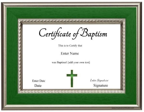 Baptism Certificate  Check It Out    Baptisms
