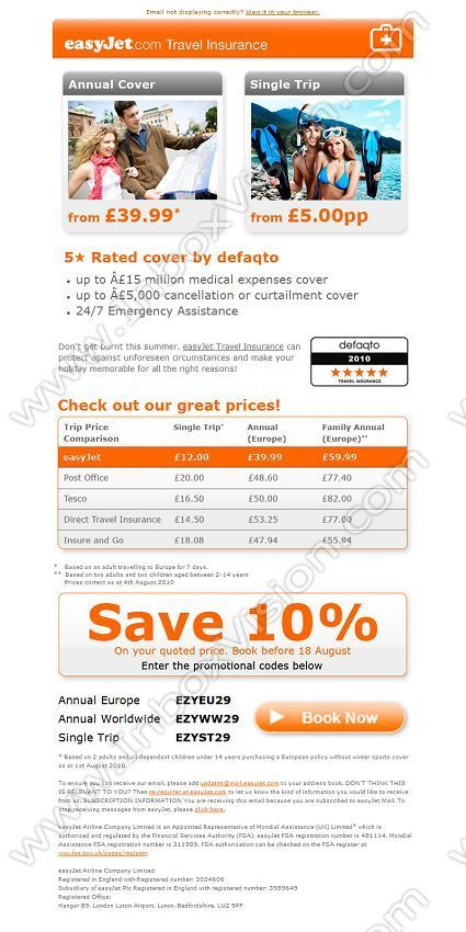 Company Easyjet Holidays Subject Save 10 On Easyjet Travel