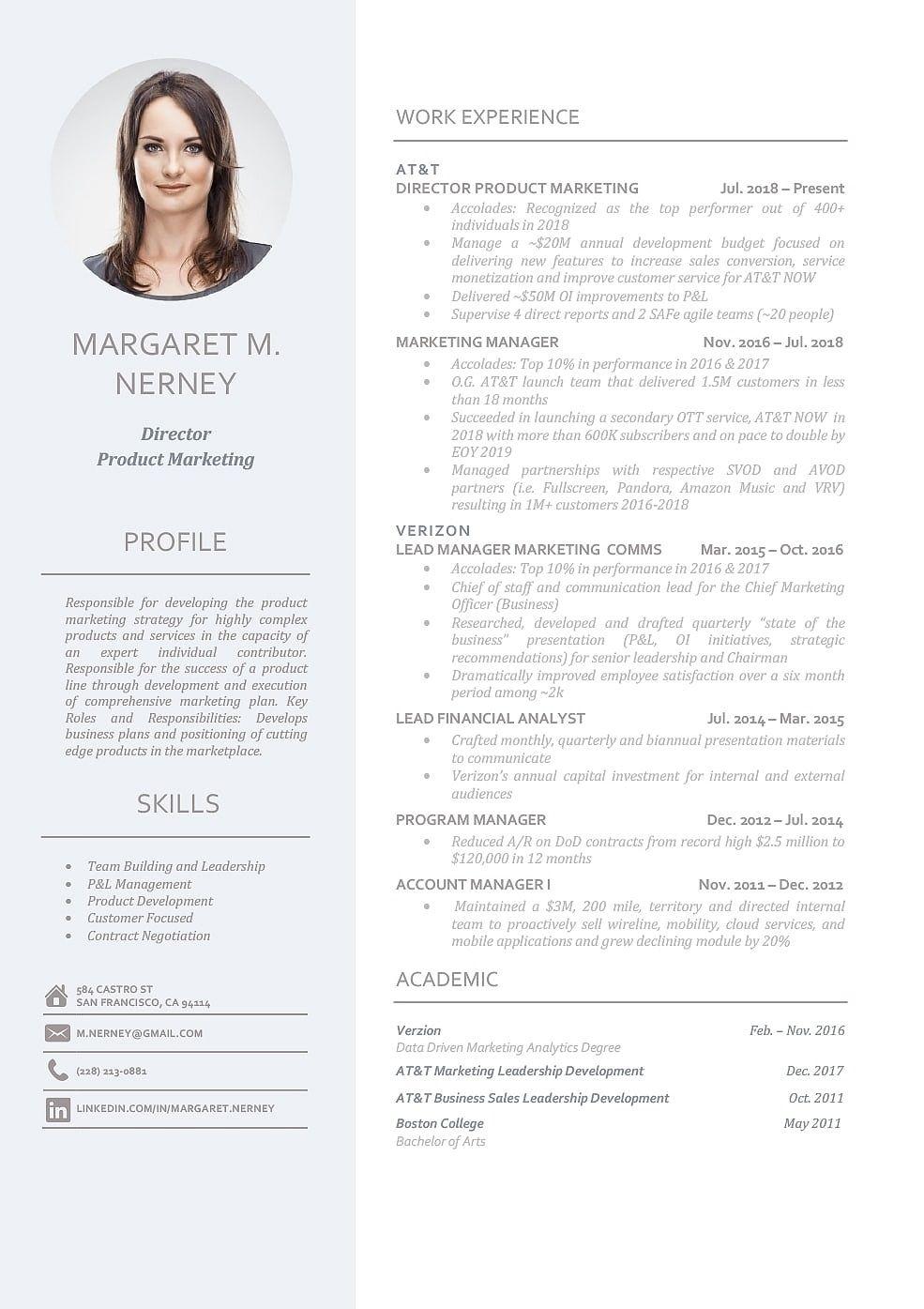 Modern Resume Template 110950 Marketing resume, Resume