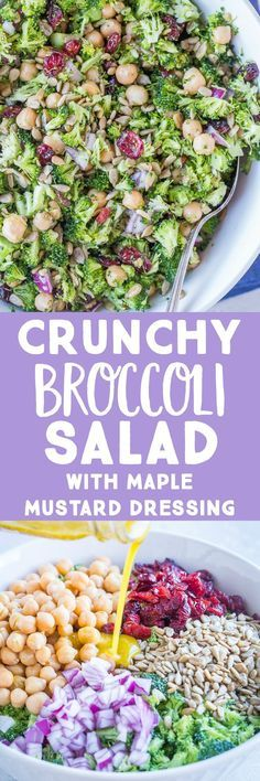 This Crunchy Broccoli Salad with Maple Mustard Dressing is perfect for a healthy no-cook side dish! It only takes about 15 minutes to make and is perfect for making ahead! It's also great for an easy and delicious holiday side that doesn't require any cooking!