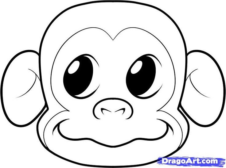 Coloring Page Going To Use It As A Template To Make A Felt Monkey Face Cartoon Monkey Drawing Monkey Drawing Monkey Coloring Pages