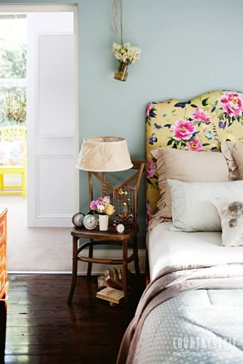 Love a floral headboard like this! via Country Style Magazine