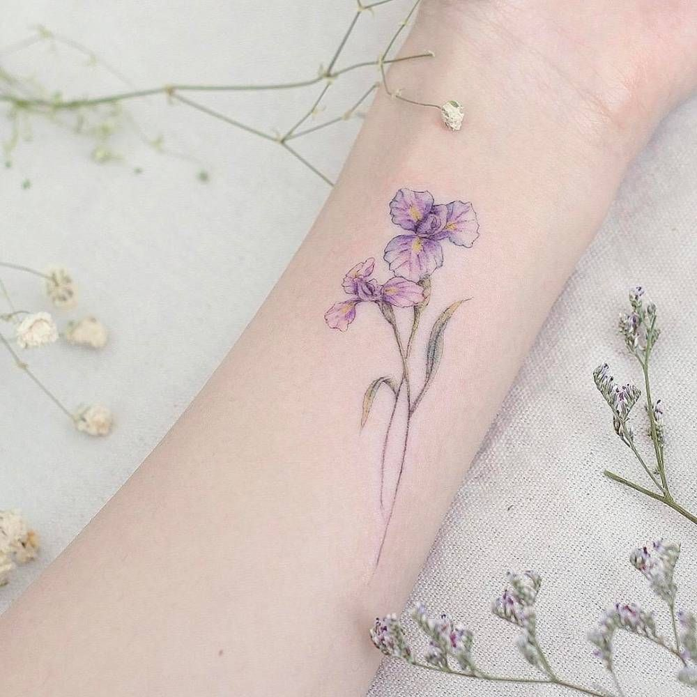Iris Flower Tattoo On The Inner Forearm Iris Tattoo Iris Flower Tattoo White Flower Tattoos