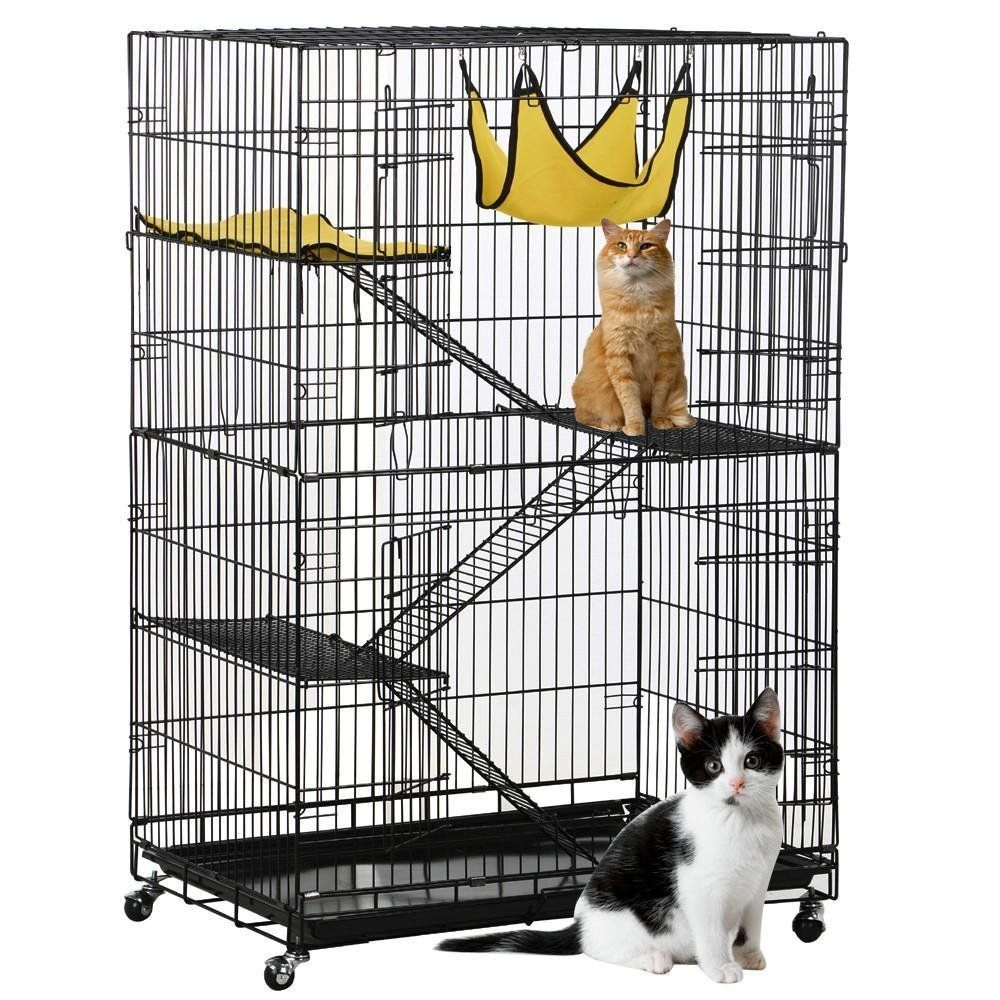 Topeakmart 4 Tier Foldable Cat Home Cages Wire Pet Crate House With Hammocks To View Further For This Item Visit The Image Cat Cages Pet Crate Dog Playpen