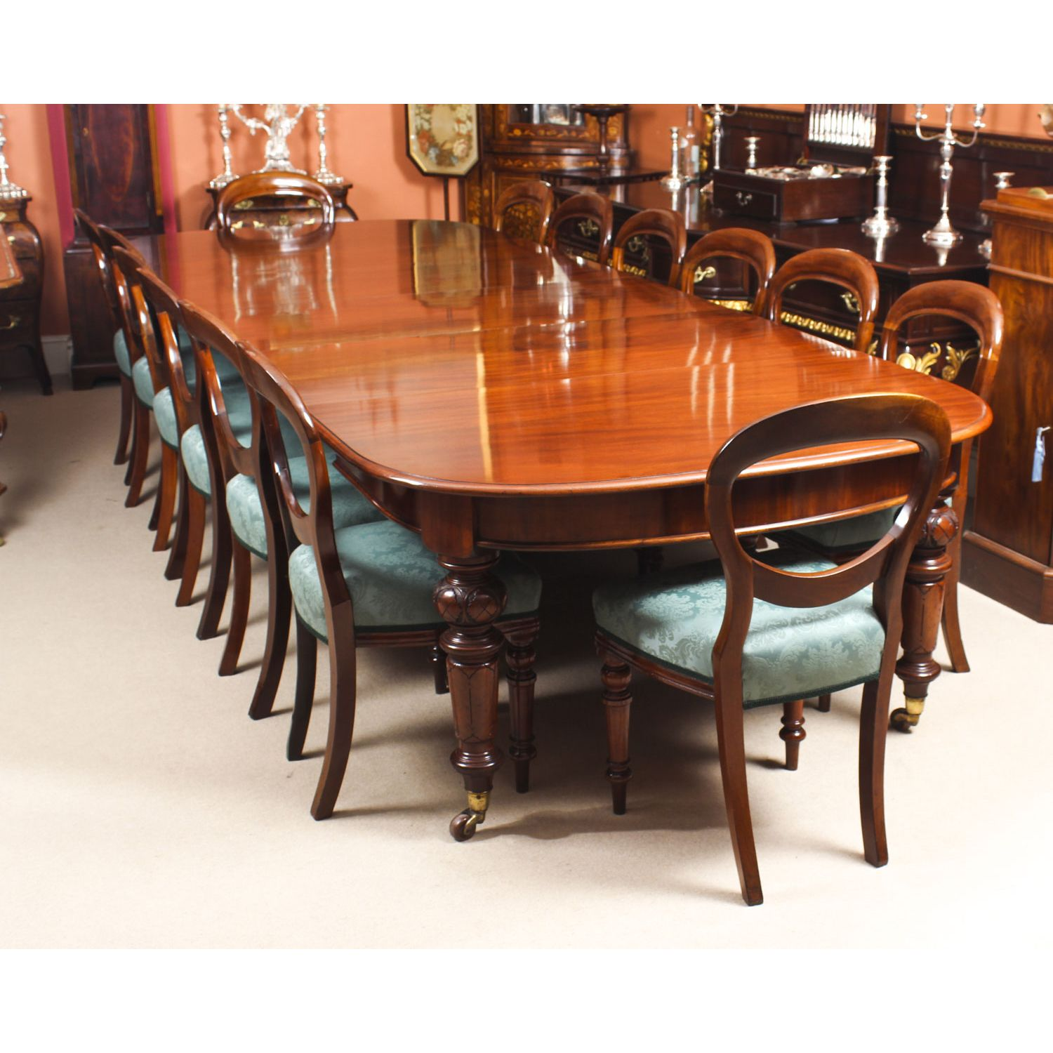 Antique 12 ft Victorian D-end Mahogany Dining Table & 14 ...