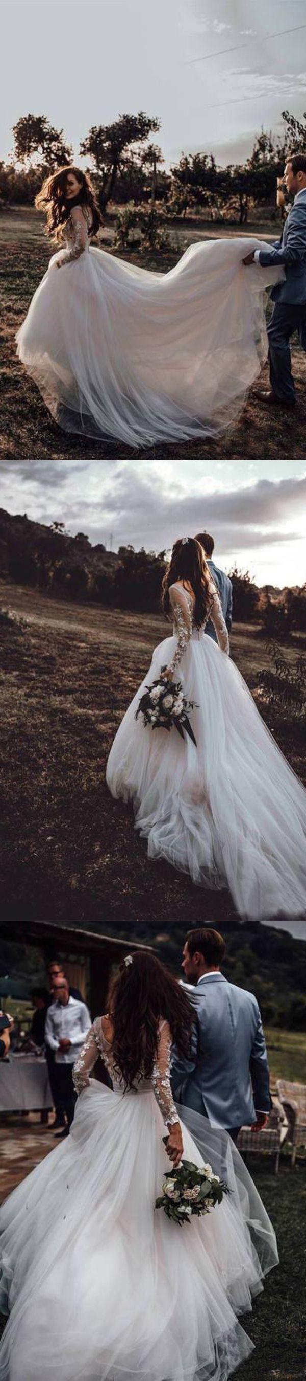 Elegant Durchsichtig Langarm Brautkleider Spitze Applique Brautkleid #spitzeapplique