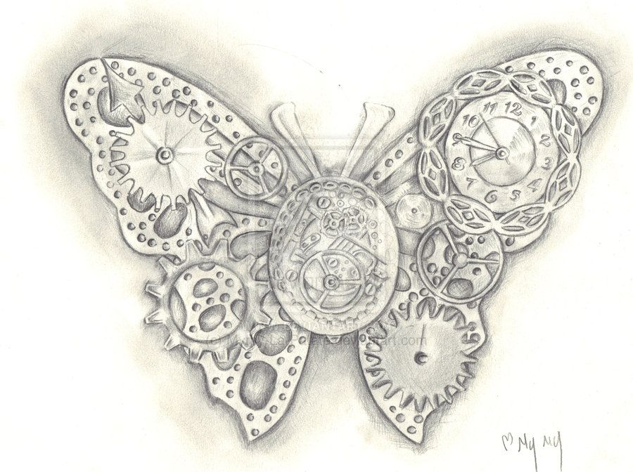 d494cddb368c7 steampunk+butterfly+tattoo | It is a butterfly, but same principle ...