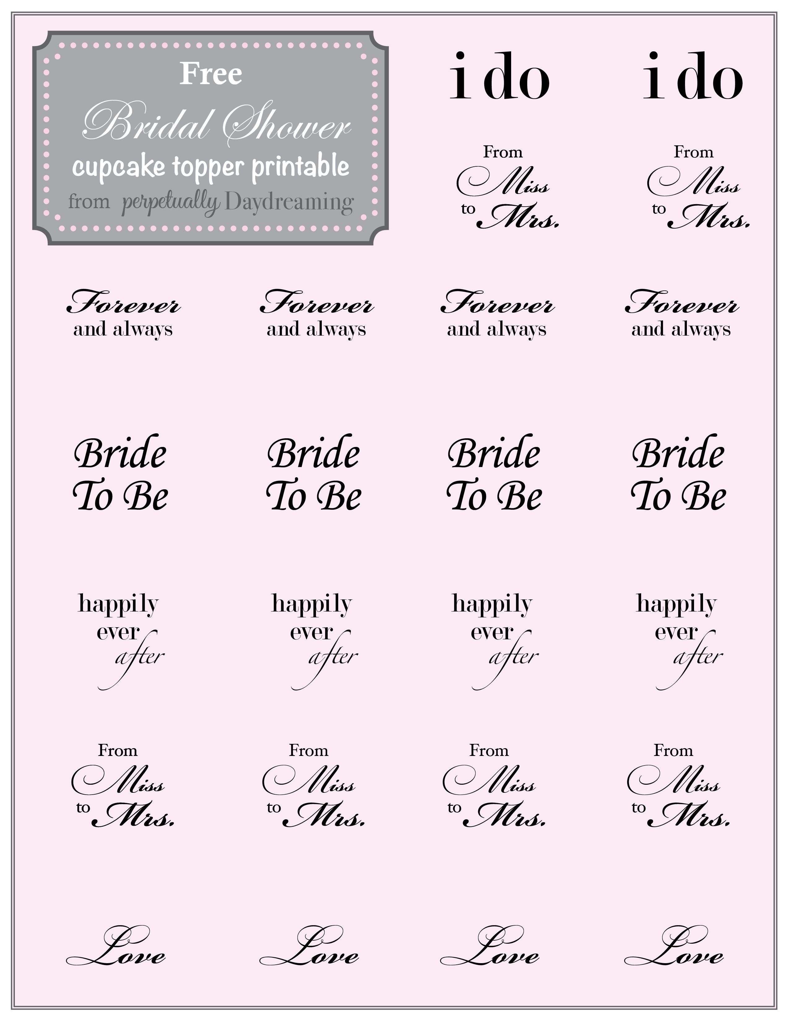country bridal shower cupcake topper free printable bridal