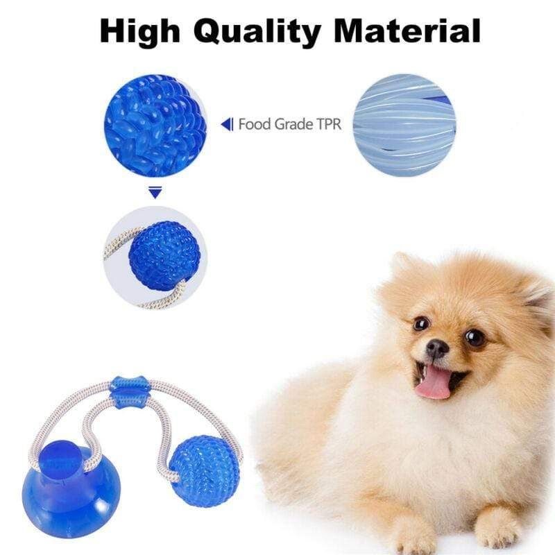 Pet Dog Floor Suction Cup Ball Toy Puppy Cat Teeth Cleaning